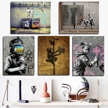Banksy Poster Vintage HD Canvas Painting Print Living Room Home Decoration Modern Wall Art Oil Posters Pictures Artwork