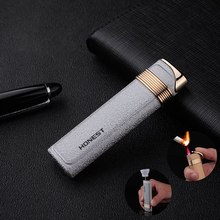 Small Metal Butane Gas Lighter Portable Ultra-thin Creative Personality Windproof Red Flame Refillable Lighters