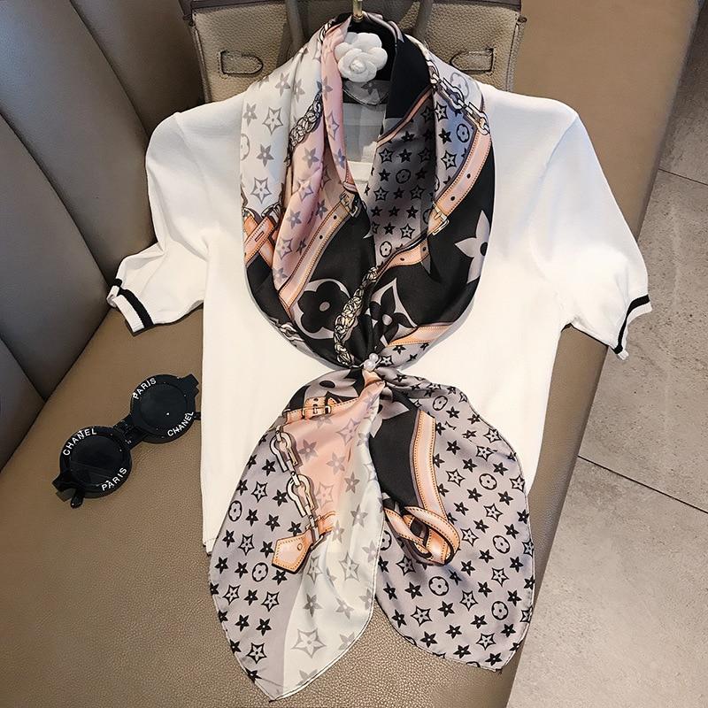 Ladies Five-pointed Star Printed Elegent Large Shawl Wrap Hijab Women Square Echarpe Bandana Foulard Imitated Silk Scarf 90 Cm