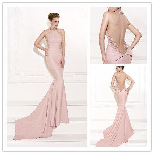 MANSA 2015 Designer Long Mermaid Prom Dress SexyPink High Neck Beaded Evening Dresses With Train Custom Made Vestidos De Fiesta