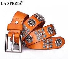 LA SPEZIA Men Genuin Leather Rock Belt Skull Cross Punk Belts for Women Yellow Black Coffee Cowskin Brand Streetwear Accessories