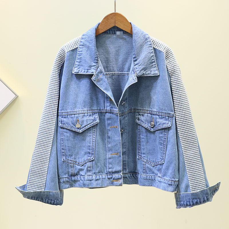 Fall Jeans Coat Female 2020 New Korean Heavy Industry Sleeves Diamond Short Denim Jacket Women's Loose Jean Jackets Streetwear