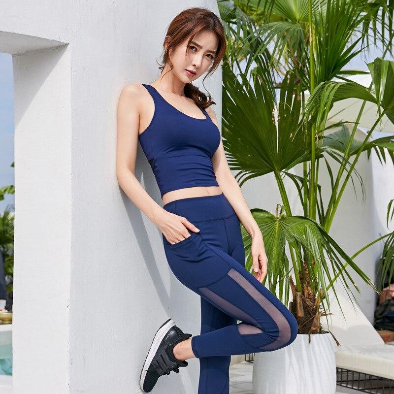 New sexy women 39 s sportswear quick drying fitness running dance high waist pants open back vest sports suit in Long Johns from Underwear amp Sleepwears