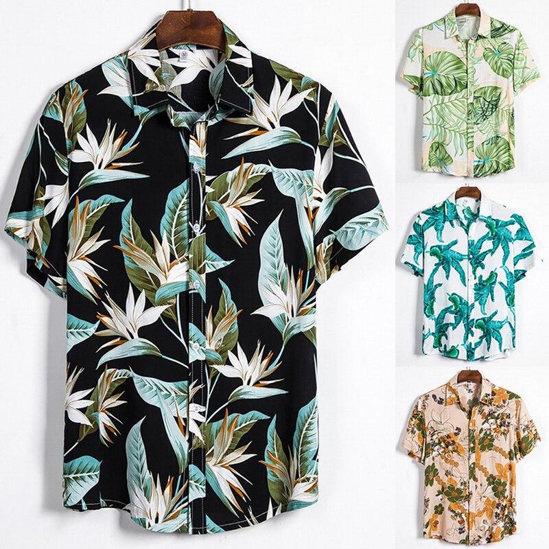 2020 여름 남성 반팔 하와이 셔츠 열대 단추 탑 꽃 루스 코튼 셔츠 캐주얼 홀리데이 셔츠 티셔츠