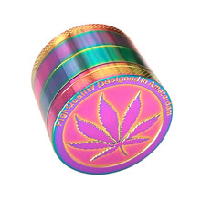 4 Layer Maple Leaf Weed Grinder Herb 50mm Crusher Accessories Rainbow Color Colorful Ice Blue Wiet