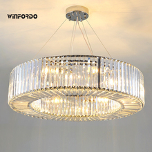 Modern Luxury Crystal Chandelier  Round Lamp for Living Room light Fixtures with E14 LED Bulbs chandelier light e14 95 245v metal round k9 crystal round foyer light k9 crystal led living room ce rosh custom designed