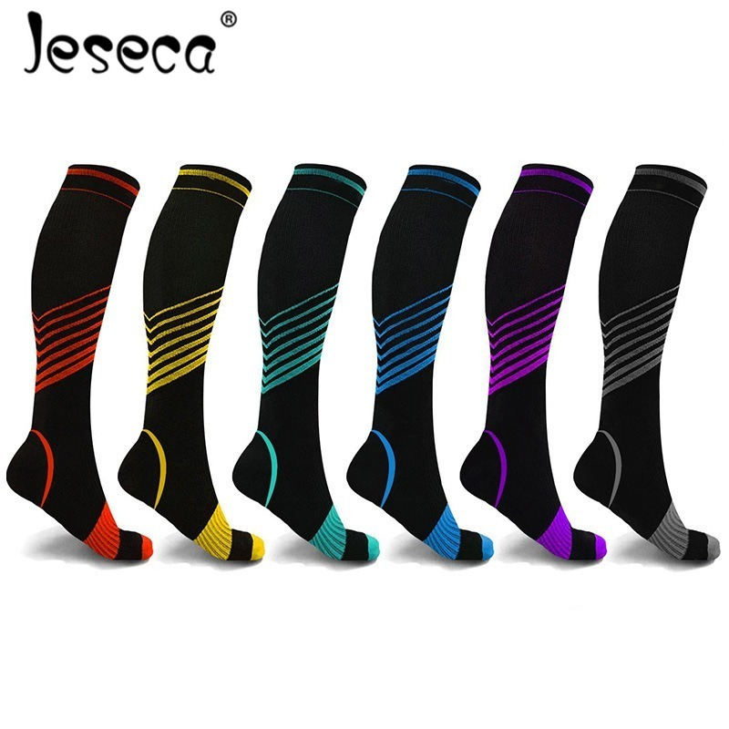 Jeseca New Unisex Stockings Compression Long Sox Strip Pressure Varicose Vein Stocking Knee Support Stretch Pressure Circulation