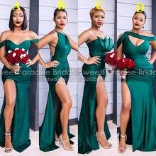 Hunter zielone suknie dla druhen o kroju syreny z wysokim podział piętro długość dostosuj kobiety długie wesele sukienka formalne Vestidos