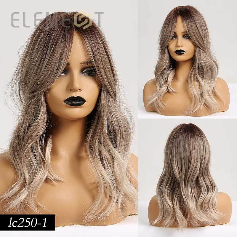 Element długie proste włosy syntetyczne Ombre ciemnobrązowe do peruki blond z bocznymi grzywkami dla białych/czarnych kobiet Party lub odzież na co dzień