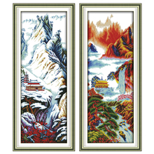 Joy Sunday,Mountain,cross stitch embroidery set,cross stitch pattern,cross stitch needlework,Scenery picture cross stitch kit цены