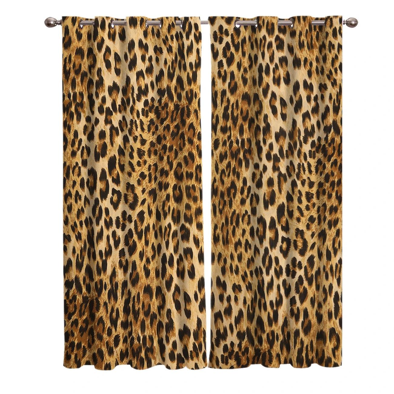 rideaux de chambre leopard sauvages pour grande fenetre panneaux de decoration d interieur floral pour fenetre de chambre a coucher cuisine