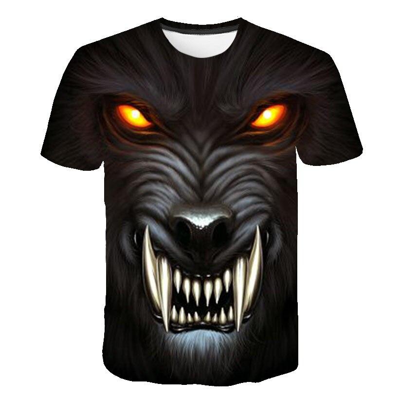Men Summer Casual Fashion T-Shirt 2019 New Customizable Streetwear Funny Horror T-Shirt Men Women Wolf Tiger Lion Tops T-Shirt