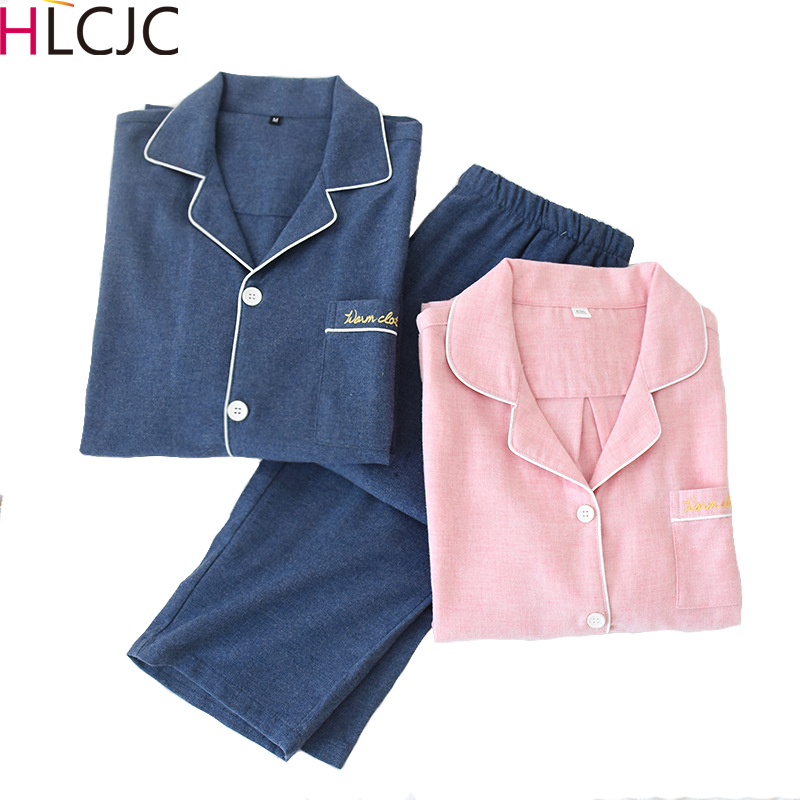 2020 New Couples Men&Women 100% Cotton Pajamas Set 2pcs Shirt&Pant Home Clothes Lovers Sleepwear Spring Lingerie Pyjamas Suit