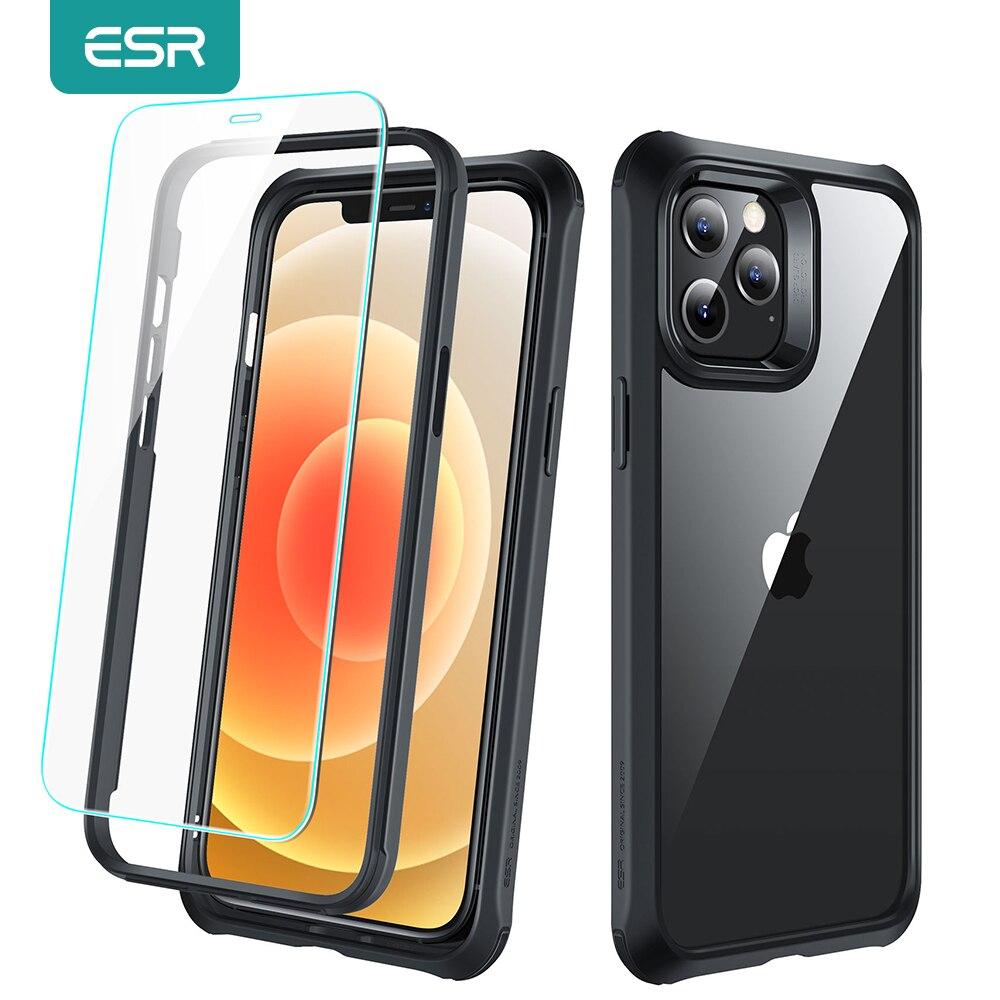 Esr proteção completa pacote caso para iphone 12 mini pro aliança max resistente capa de corpo inteiro com 2 peças de vidro temperado para iphone 12