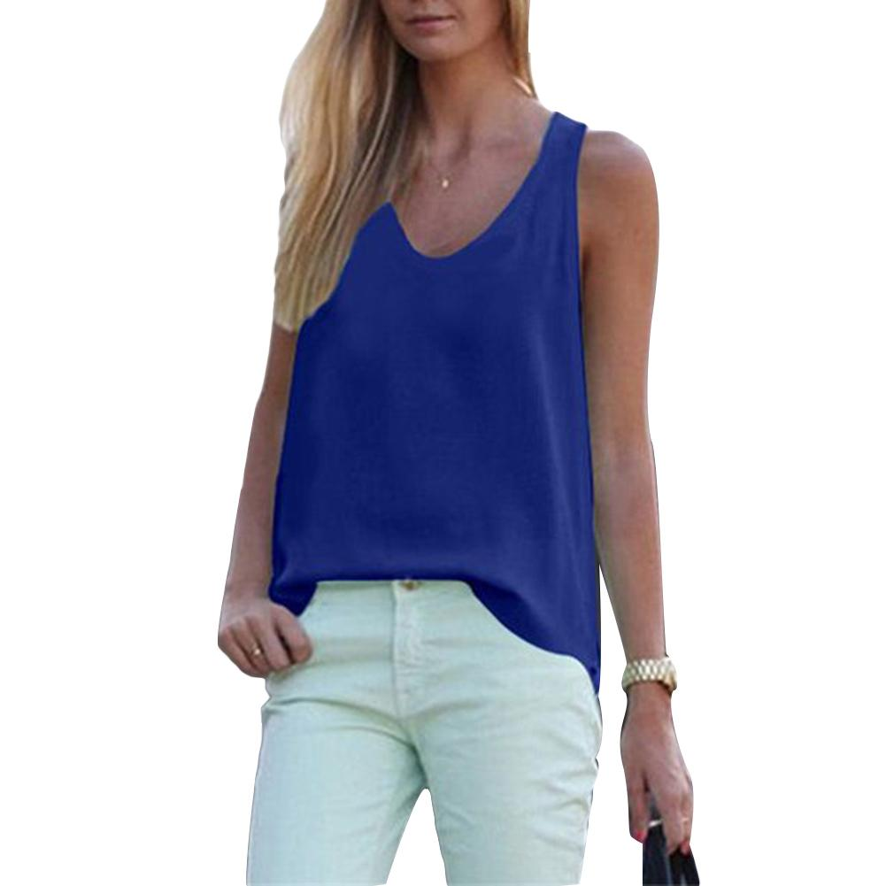 Simple Inside Solid Color Round Neck Sleeveless Chiffon Blouse Summer Women Vest Tank sports Top