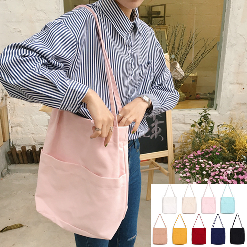 Simple Women Canvas Shoulder Bags Cotton Solid Color Ladies Foldable Shopping Bags Large Capacity Student Girls Book Handbags