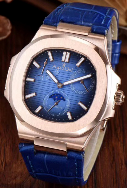 Luxury Brand New Automatic Mechanical Men Watch Sapphire Rose Gold Transparent Leather MoonPhase Watches Black Blue Daydate AAA+