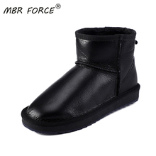 MBR FORCE New Fashion Classic Waterproof Sheepskin Leather Fur Lined Short Winter Snow Boots Women C