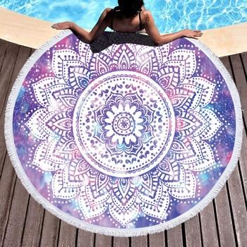 Toallas de playa redondas de Mandala bohemias, Toalla de microfibra para baño, toalla deportiva, natación, esterilla de Yoga redonda, mantón, manta para tomar el sol