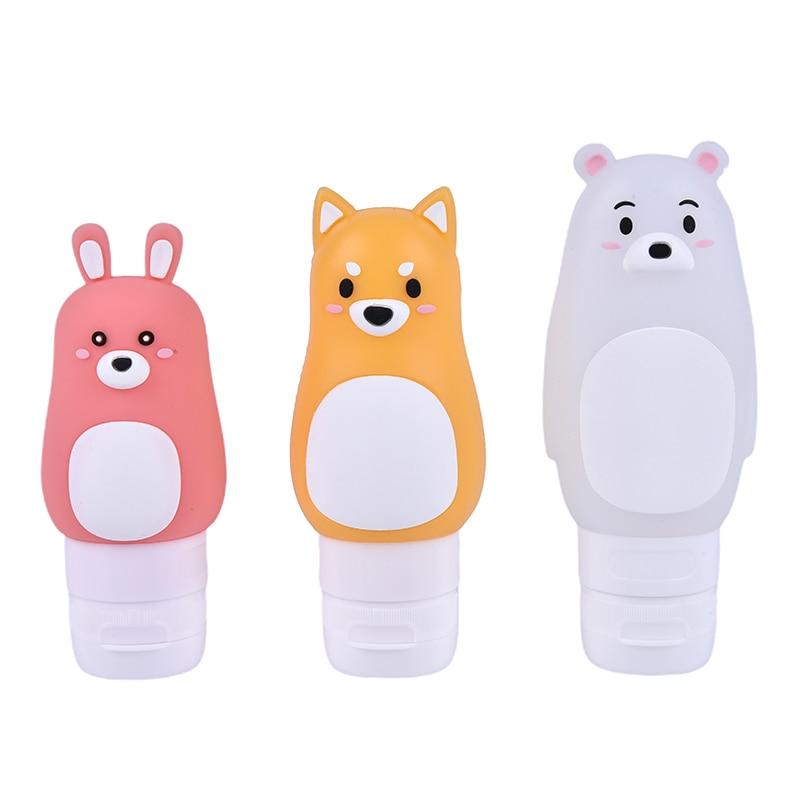 Animal Portable Cartoon Bear Penguin Silicone Travel Case Organizer Shampoo Shower Gel Lotion Storage Fashion Refillable Bottle