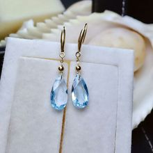 Jewelry Water-Drop-Earrings Fine-Charm Topaz Gold Natural Women Classic 18K Meibapj