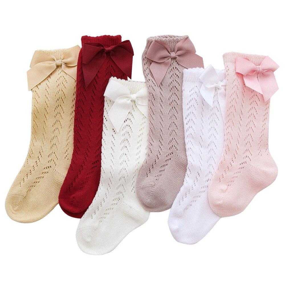 Lawadka-calcetín largo para bebé y niña, lazo para niño pequeño, calcetines de malla hasta la rodilla para recién nacido, accesorios de ropa para niños de 0 a 3 años