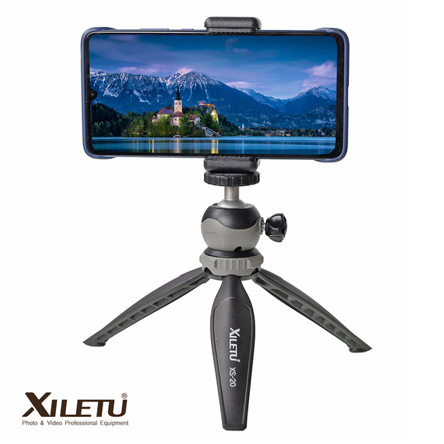 XILETU XS-20 Mini Desktop little Phone Stand Tabletop Tripod for Vlog Mirrorless Camera Smart phone with Detachable Ball head 1