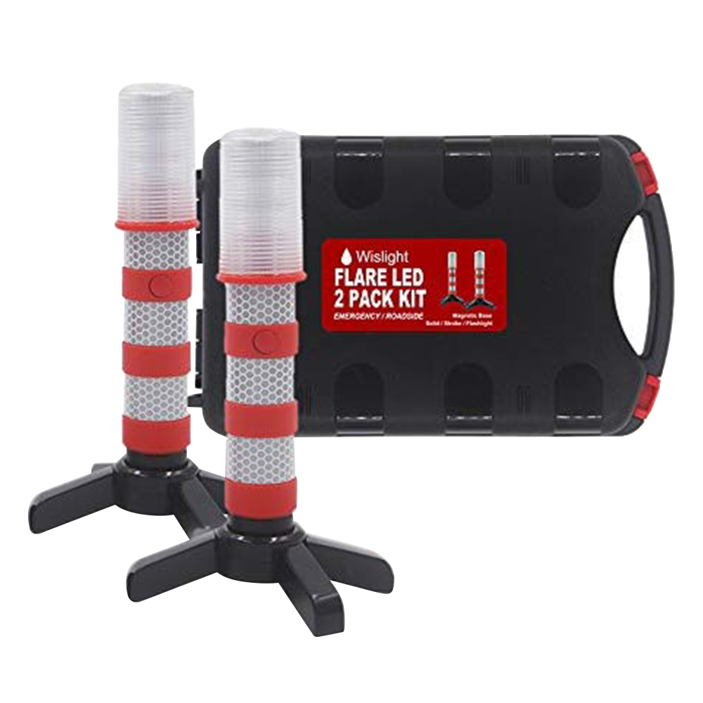 2Pcs LED Emergency Roadside Flashing Flares Safety Strobe Light Road Warning Beacon Magnetic Base Detachable Stand
