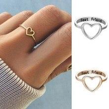 Minimalismo coração anel coreano amor oco para fora coração jóias acessórios feminino meninas rings melhor amigo rings aniversário presente na moda anéis