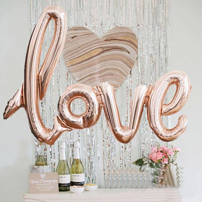 Большие лигатуры, розовое золото, любовь, буквы, воздушный шар, годовщина, День Святого Валентина, свадебные шары, вечерние украшения, товары...