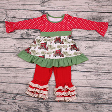 Children Girls christmas clothes kids outfits car tree top with pants children kids boutique clothing
