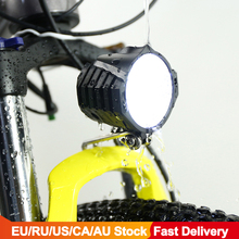 Bicicleta elétrica led farol 12w 36v 48v à prova dwaterproof água e bicicleta luz frontal lanterna 4 luzes com chifre para ebike