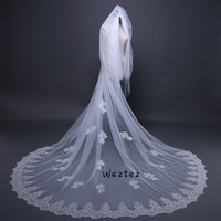 Wedding Veil 3M Two Layer Lace Edge With White Cathedral Long Bridal Veil Wedding Accessories TS061