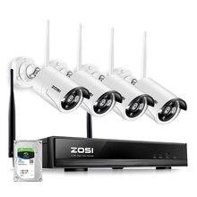 ZOSI 플러그 앤 플레이 무선 4CH CCTV 카메라 시스템 P2P 무선 1080P NVR 및 IP 카메라 960P 야외 총알 와이파이 감시 시스템
