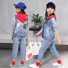 Spring Autumn Newest Hooded Waistcoat Printed Design Girls Blue Patchwork Denim Jacket ReDenim Red Hat Single Coat
