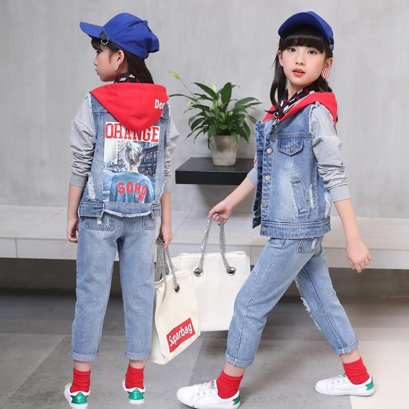 primavera outono mais novo com capuz colete projeto impresso meninas redenim azul patchwork jaqueta jeans com