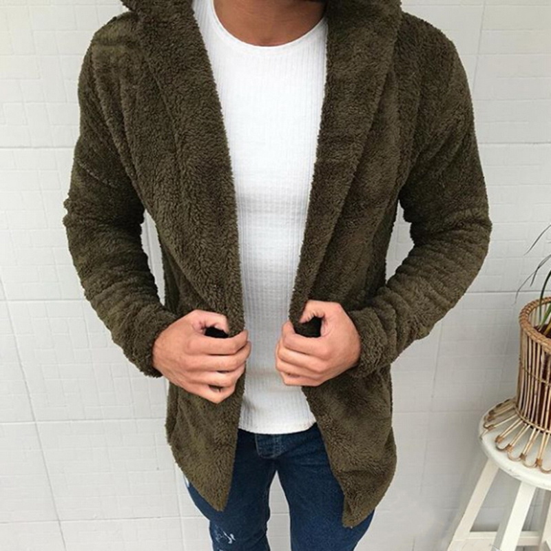 Men Cardigan Fashion Fur Hat Cotton Mens Thick Hooded Jackets Coats Clothes Solid Color Jacket Men Causual Outerwear Open Stitch