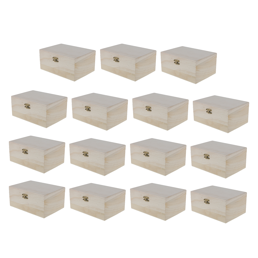 15pcs Plain Wooden Box Keepsake Trinket <font><b>Treasure</b></font> <font><b>Toy</b></font> Case 6.9 <font><b>X</b></font> 3.1 <font><b>X</b></font> 4.9'' image