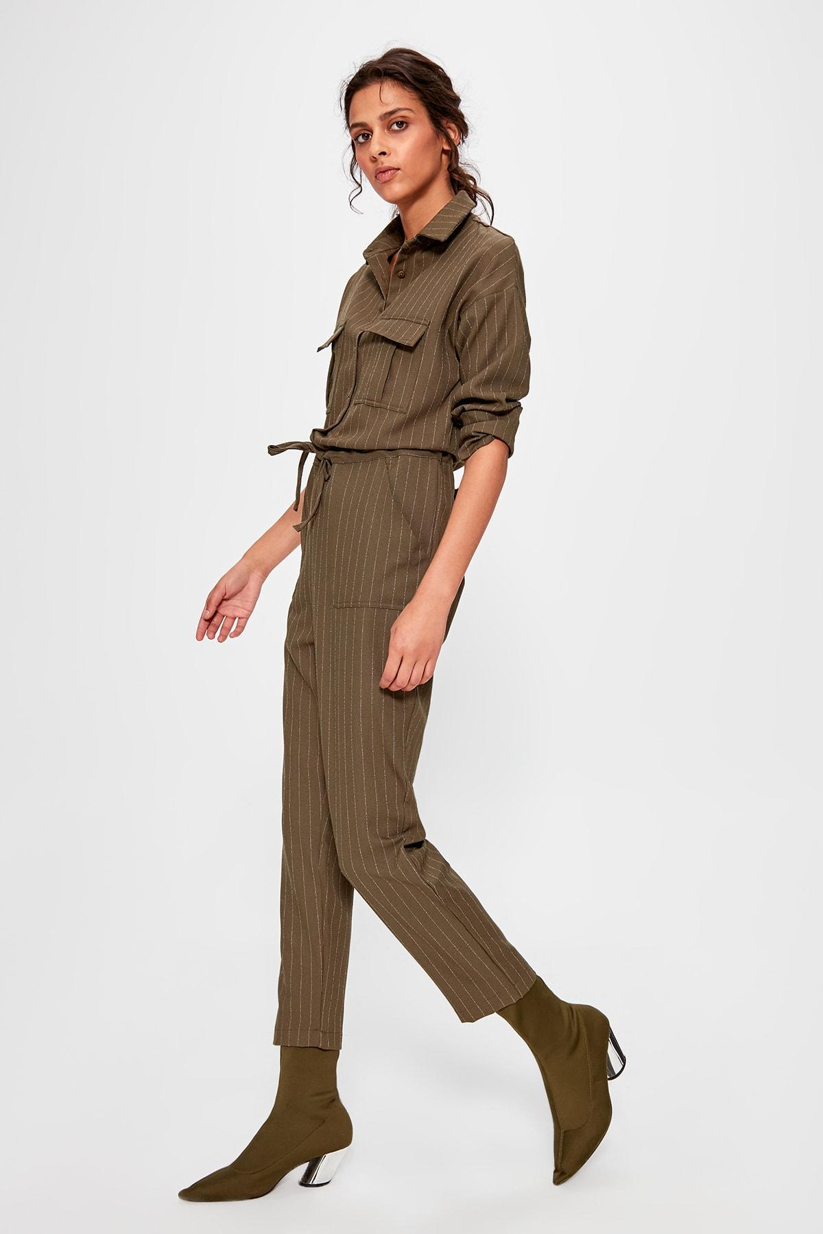 Trendyol Khaki Belted Jumpsuit TCLAW19AP0002