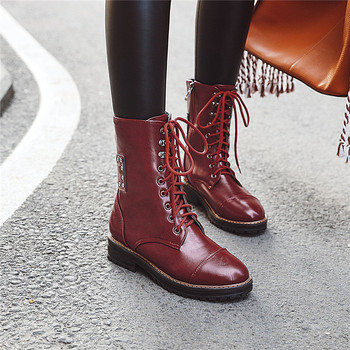 Fashion Winter Studded Rivet Lace Up Womens Shoes Chunky Heel Short Combat Biker Motorcycle Ankle Boots for Women Bootie