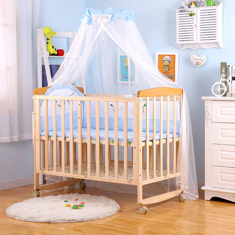 Baby Crib Mosquito Net Room Decor Children's Bed Canopy With Bracket Holder Hung Dome Mosquito Net 0-1Y Girl's Room Crib Netting