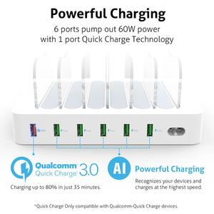 Image 3 - Soopii Quick Charge 3.0 60W/12A 6 Port USB Charging Station for Multiple Devices, Dock Station with 6 Cables Included