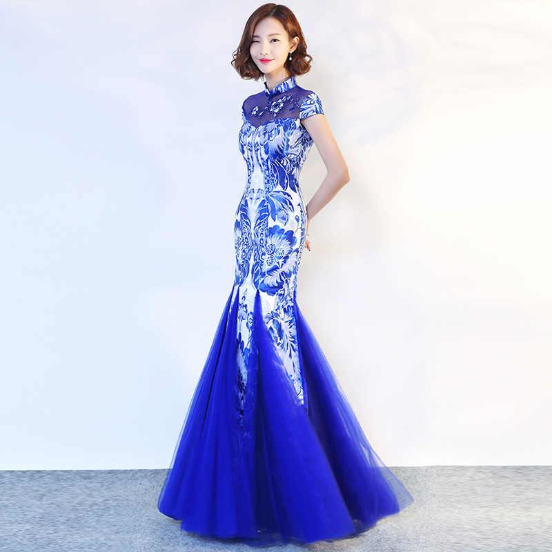 Вечерние традиционное китайское платье в китайском стиле для женщин элегантный китайский воротник Qipao сексуальный Выпускной длинный халат Ретро Vestido