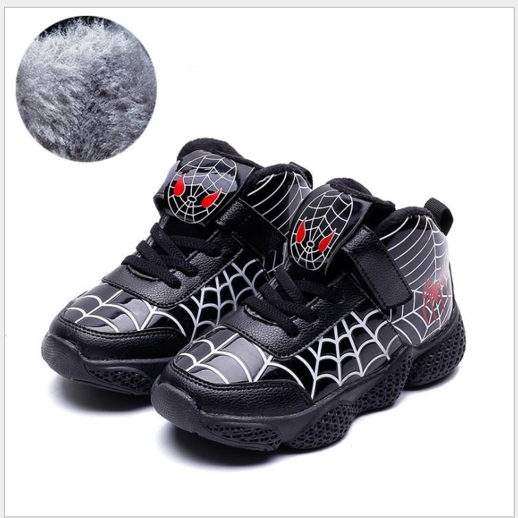 Cartoon Spiderman Kids Boys Sports Sneakers Children Warm Winter Boots Chaussure Enfant Girls Shoes Sport Running Leather Shoes