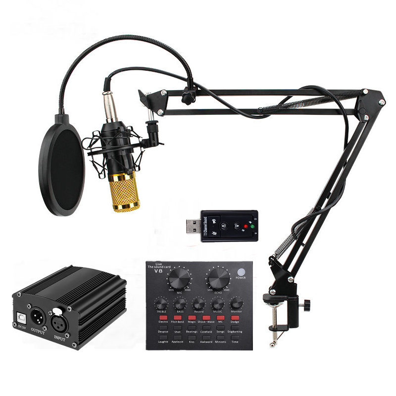 BM 800 Professional Condenser Microphone <font><b>bm800</b></font> Audio Vocal recording for Computer karaoke <font><b>Phantom</b></font> <font><b>power</b></font> pop filter Sound card image