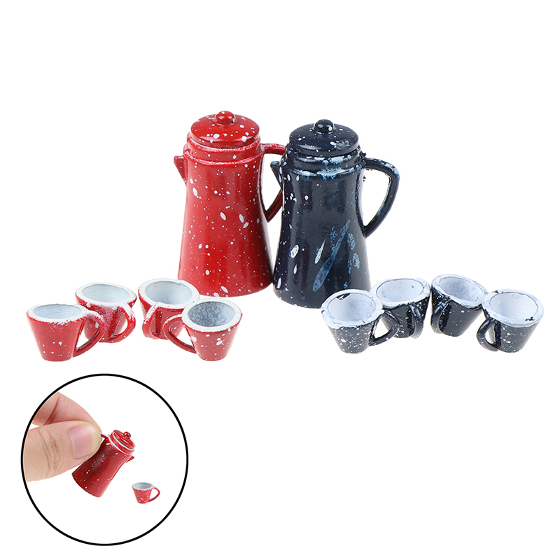 5Pcs/set 1/12 Dollhouse Miniature Dining Ware Porcelain Tea Set Dish Cup Set Toy Baby Kids DIY Kitchen Toys