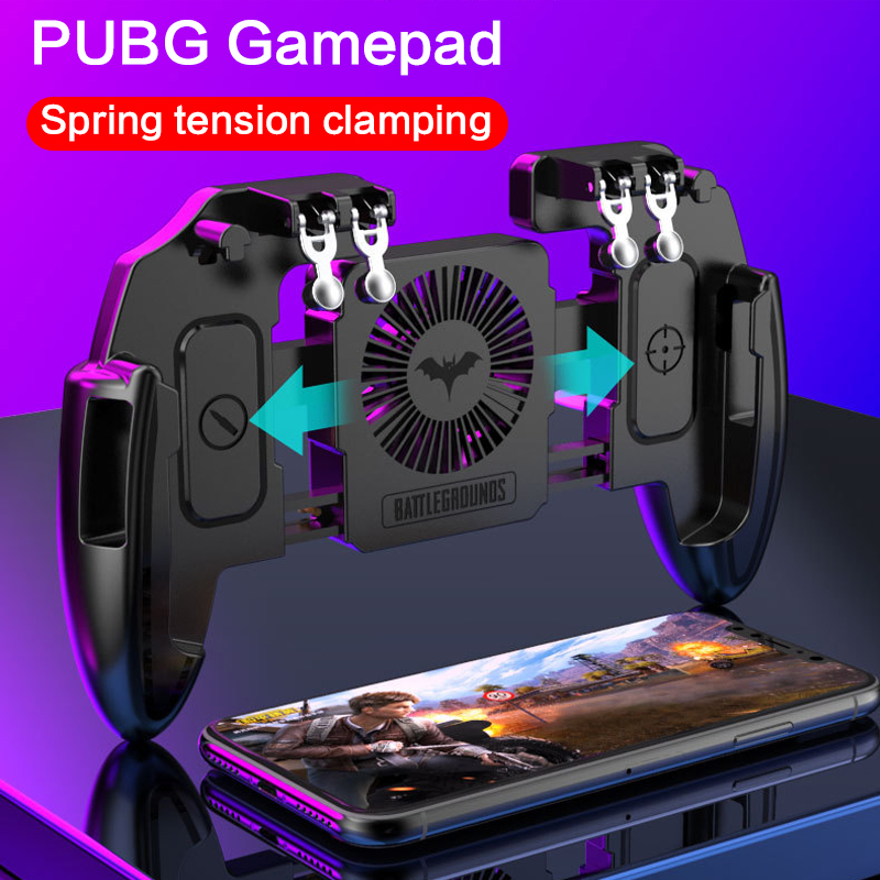 Six Fingers PUBG Game Controller Gamepad Trigger Shooting Free Fire Cooling Fan Gamepad Joystick For IOS Android Mobile Phone|Gamepads|   - AliExpress