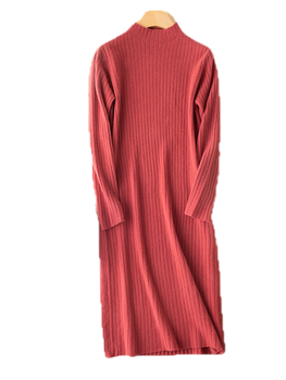 Turtleneck Pullover LadiesLong Dress Solid Color Australian Wool Knitted Striped Skirt Spring, Autumn And Winter 1