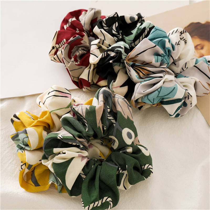 Ruoshui New Spring Woman Floral Scrunchies Flower Hair Ties Girls Rubber Band Ponytail Holders Women Hair Accessories Ornaments