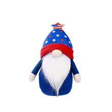 Boneca sem rosto brilhante rudolph americano independência dia coluna de pé goblin casa iluminação gnome decoração festa ornamento